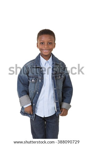 Portrait of a young boy isolated on white - stock photo