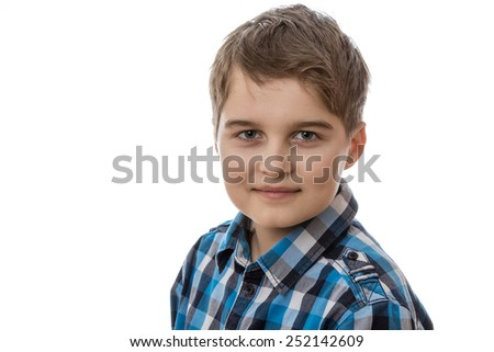 portrait of a young boy isolated on white background - stock photo