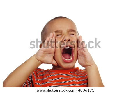 Portrait of a young boy shouting - stock photo