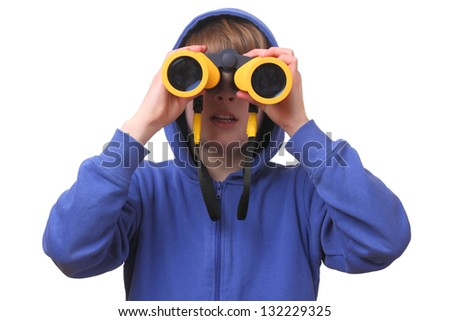 Portrait of a young boy with binoculars on white background - stock photo