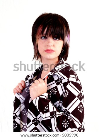 Portrait of a young brunette rocker girl