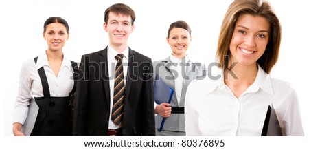 Portrait of a young business lady and her team on a white background