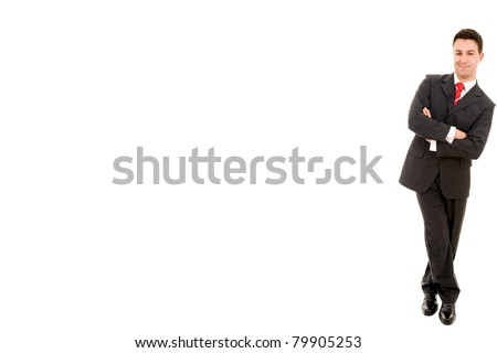 Portrait of a young business man leaning up against the wall. Isolated on white background and much space for own text - stock photo