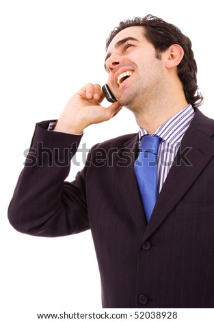 Portrait of a young business man on the phone, isolated isolated on white