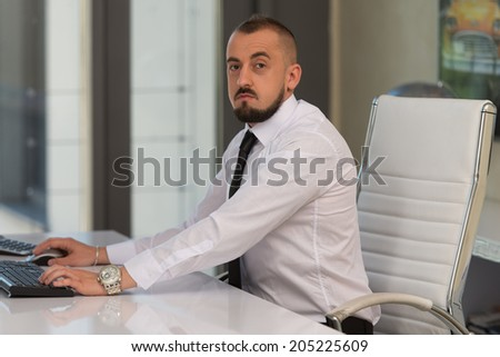 Portrait Of A Young Business Man Using A Computer In The Office