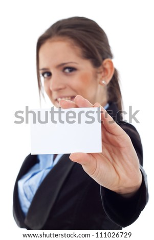 Portrait of a young business woman holding an empty card and smiling while looking at the camera. Isolated on white background - stock photo