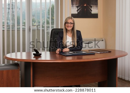 Portrait Of A Young Business Woman Using A Touchpad In The Office - stock photo