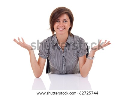 Portrait of a young business woman. with both her hands outstretched, as though she is presenting something - stock photo