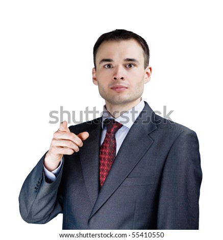 portrait of a young businessman isolated - stock photo