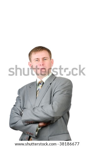 Portrait of a young businessman isolated on white background - stock photo
