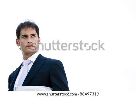 POrtrait of a young businessman, lots of copy-space - stock photo