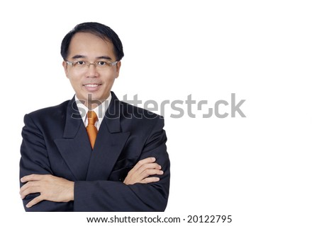 Portrait of a young businessman on white background.