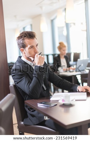 Portrait of a young businessman, sitting and writing at a table