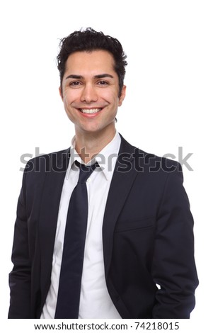 Portrait of a young businessman smiling wide - stock photo