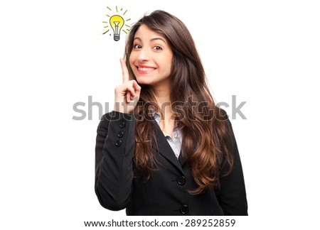 Portrait of a young businesswoman having a brilliant idea - stock photo