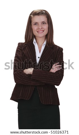 Portrait of a young businesswoman isolated against a white background