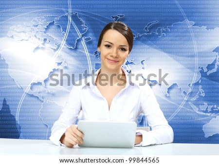 Portrait of a young businesswoman making presentation - stock photo