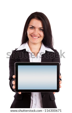Portrait of a young businesswoman showing tablet isolated on white background - stock photo