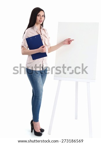 Portrait of a young businesswoman while presenting her project on board - stock photo