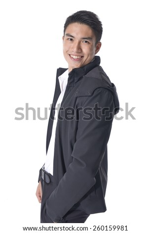 portrait of a young casual young man - stock photo