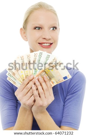 portrait of a young caucasian woman holding money
