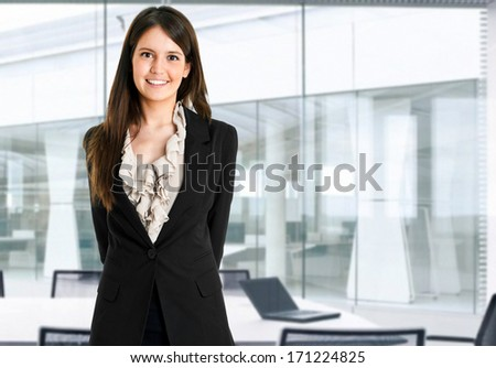 Portrait of a young charming businesswoman - stock photo