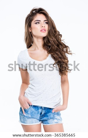 Portrait of a young charming woman posing isolated on a white background - stock photo