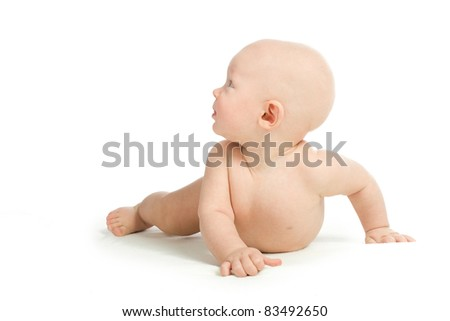 Portrait of a young child on a white background - stock photo