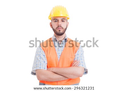 Portrait of a young, confident and successful engineer isolated on white background with copy space or text area