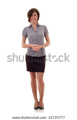 Portrait of a young confident business woman on white background - stock photo