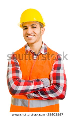 Portrait of a young construction worker - stock photo