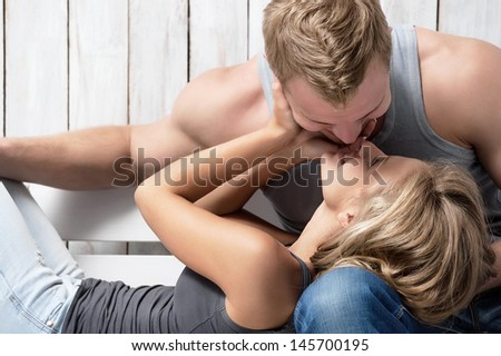 Portrait of a young couple in love - stock photo