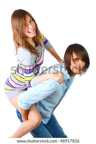 Portrait of a young couple in studio. - stock photo
