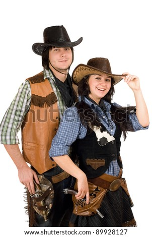 Portrait of a young cowboy and cowgirl. Isolated - stock photo