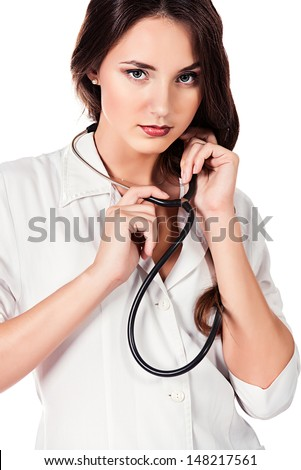 Portrait of a young doctor with a stethoscope. Isolated over white. - stock photo
