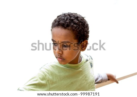 Portrait of a young Ethiopian boy looking to the side - stock photo