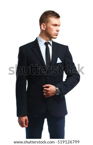 Portrait of a young executive in business suit