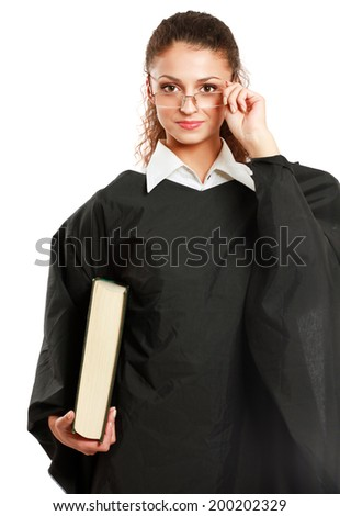 Portrait of a young female judge, isolated on white background - stock photo