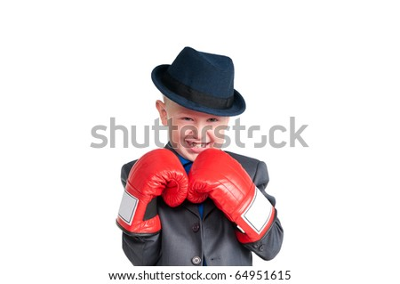 Portrait of a young figher with gloves - stock photo