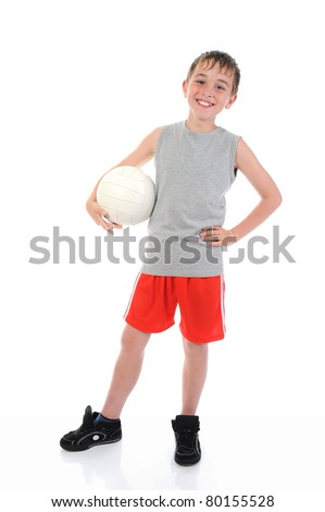 Portrait of a young football player. isolated on a white background - stock photo