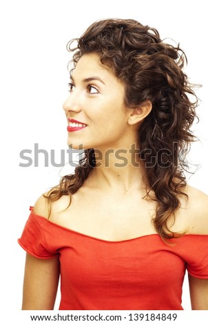 Portrait of a young  frightened woman with red shirt over white background