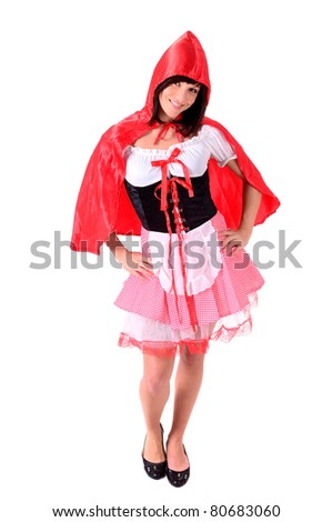 portrait of a young girl in red - Red Riding Hood - stock photo