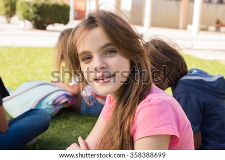 Portrait of a young girl on school campus
