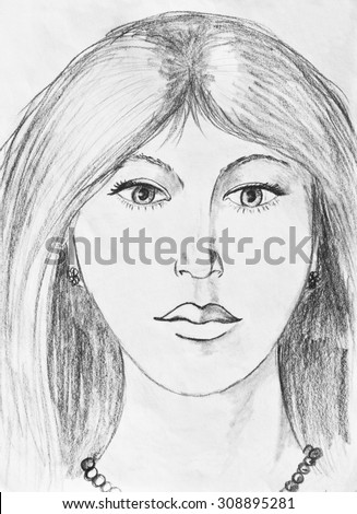 Portrait of a young girl. Pencil drawing - stock photo