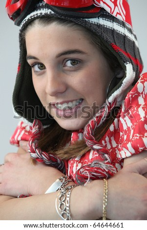 Portrait of a young girl shivering - stock photo