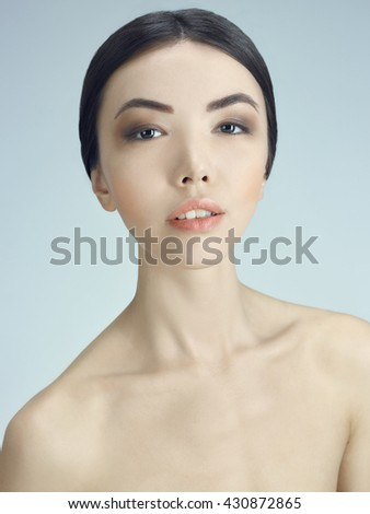 Portrait of a young girl Shooting beautiful young girl of Asian appearance - stock photo