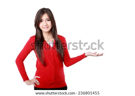 Portrait of a young girl  showing blank area for sign or copyspase - stock photo