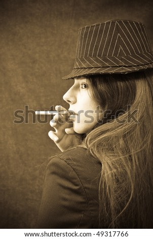 Portrait of a Young Girl Smoking - stock photo