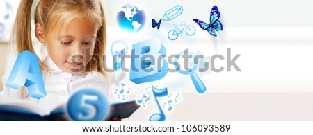 Portrait of a young girl studying. Different icons of lessons flying around her - stock photo