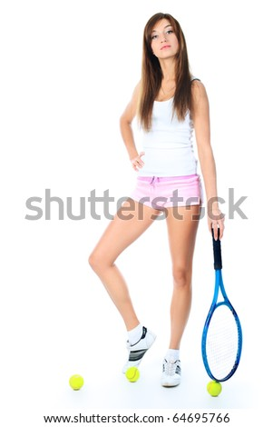 Portrait of a young girl with a tennis racket. Isolated over white background. - stock photo